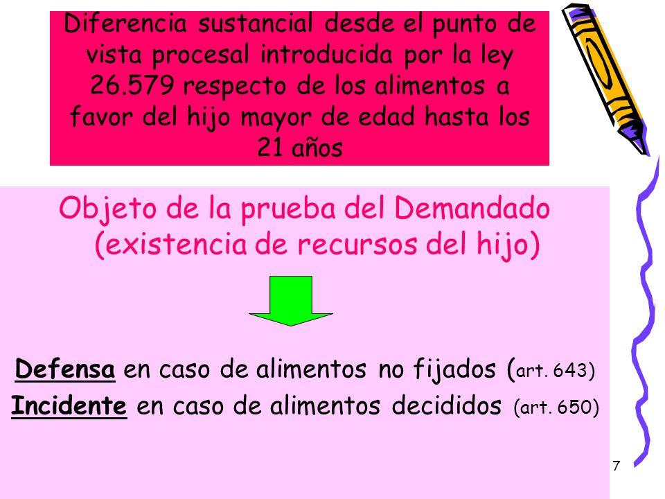 7 Diferencia sustancial desde el punto de vista procesal introducida por la ley 26.579 respecto de los alimentos a favor del hijo mayor de edad hasta