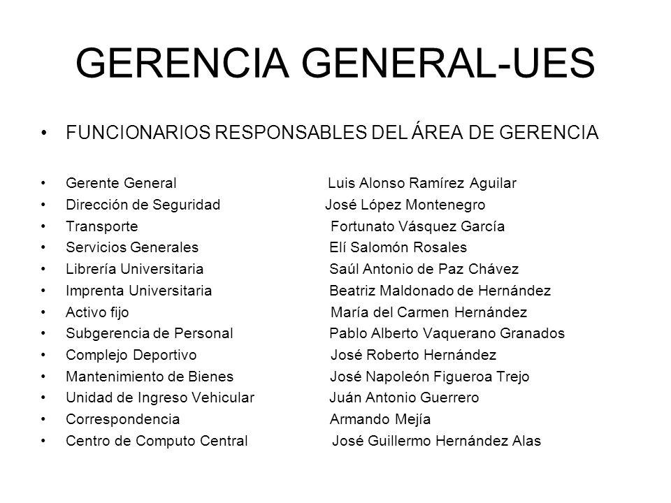 GERENCIA GENERAL-UES FUNCIONARIOS RESPONSABLES DEL ÁREA DE GERENCIA Gerente General Luis Alonso Ramírez Aguilar Dirección de Seguridad José López Mont