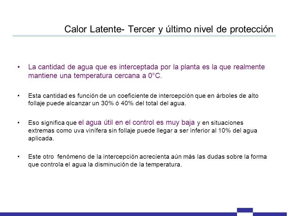 Calor Latente- Tercer y último nivel de protección La cantidad de agua que es interceptada por la planta es la que realmente mantiene una temperatura cercana a 0°C.