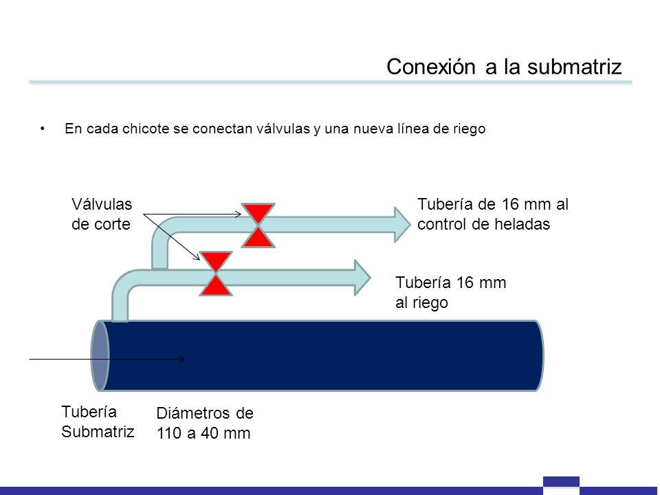 Conexión a la submatriz Tubería Submatriz Diámetros de 110 a 40 mm Tubería 16 mm al riego Tubería de 16 mm al control de heladas En cada chicote se conectan válvulas y una nueva línea de riego Válvulas de corte