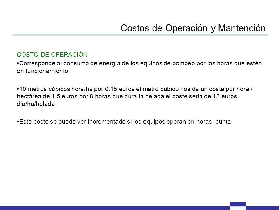 Costos de Operación y Mantención COSTO DE OPERACIÓN Corresponde al consumo de energía de los equipos de bombeo por las horas que estén en funcionamien