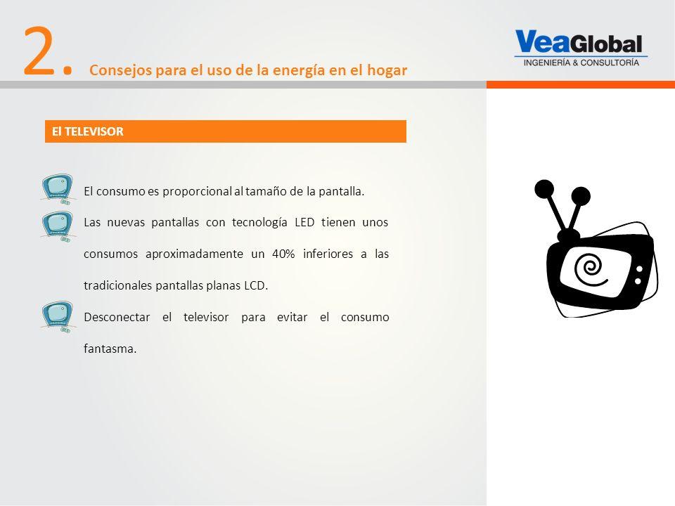 2. Consejos para el uso de la energía en el hogar El TELEVISOR El consumo es proporcional al tamaño de la pantalla. Las nuevas pantallas con tecnologí