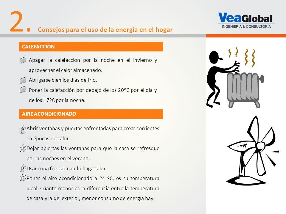 2. Consejos para el uso de la energía en el hogar CALEFACCIÓN Apagar la calefacción por la noche en el invierno y aprovechar el calor almacenado. Abri