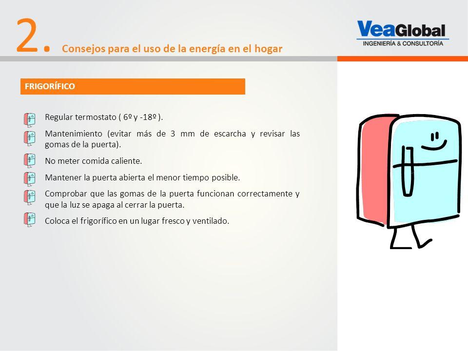 2. Consejos para el uso de la energía en el hogar Regular termostato ( 6º y -18º ). Mantenimiento (evitar más de 3 mm de escarcha y revisar las gomas
