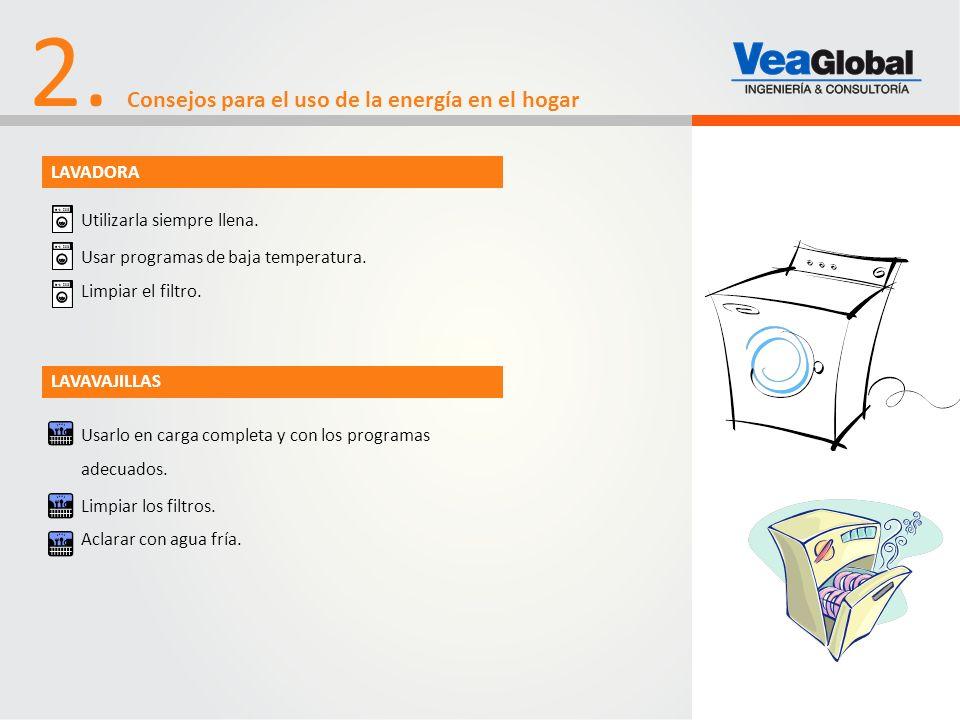 2. Consejos para el uso de la energía en el hogar Utilizarla siempre llena. Usar programas de baja temperatura. Limpiar el filtro. Usarlo en carga com