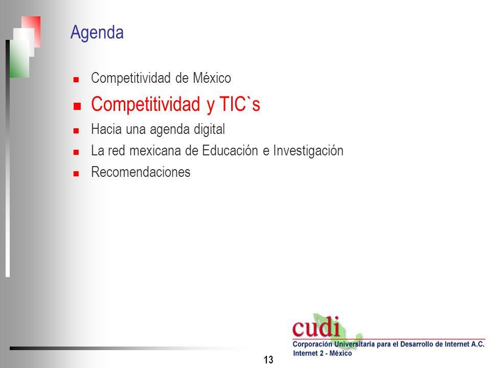 13 Agenda Competitividad de México Competitividad y TIC`s Hacia una agenda digital La red mexicana de Educación e Investigación Recomendaciones