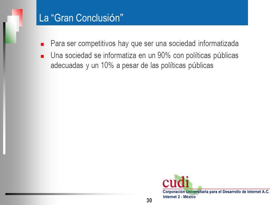 31 Agenda Competitividad de M é xico Competitividad y TIC`s Hacia una agenda digital para M é xico La red mexicana de Educaci ó n e Investigaci ó n Recomendaciones