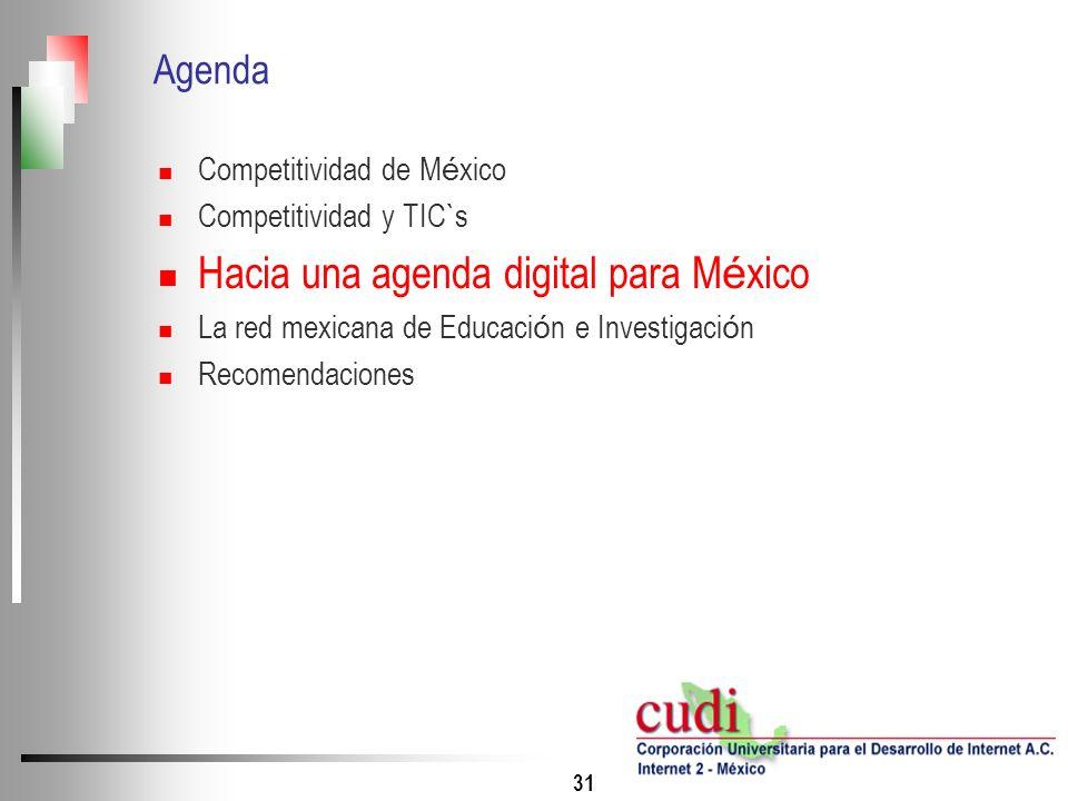 31 Agenda Competitividad de M é xico Competitividad y TIC`s Hacia una agenda digital para M é xico La red mexicana de Educaci ó n e Investigaci ó n Re