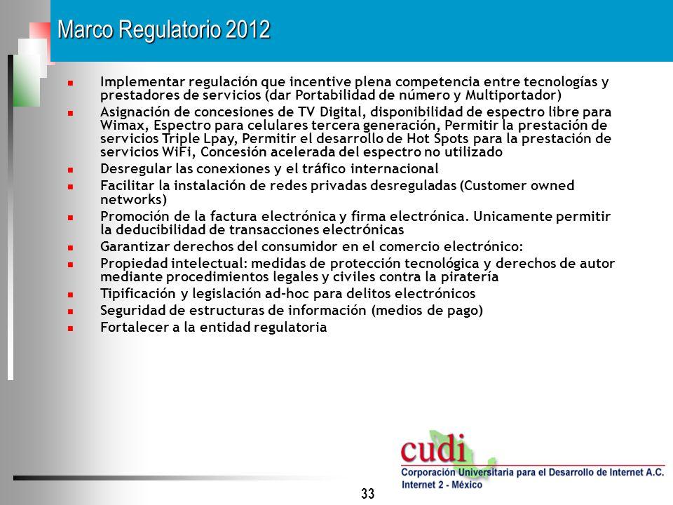 33 Implementar regulación que incentive plena competencia entre tecnologías y prestadores de servicios (dar Portabilidad de número y Multiportador) As