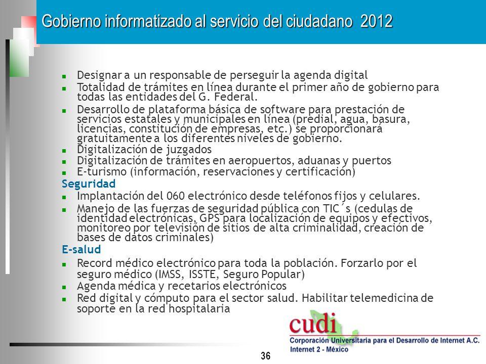 36 Designar a un responsable de perseguir la agenda digital Totalidad de trámites en línea durante el primer año de gobierno para todas las entidades