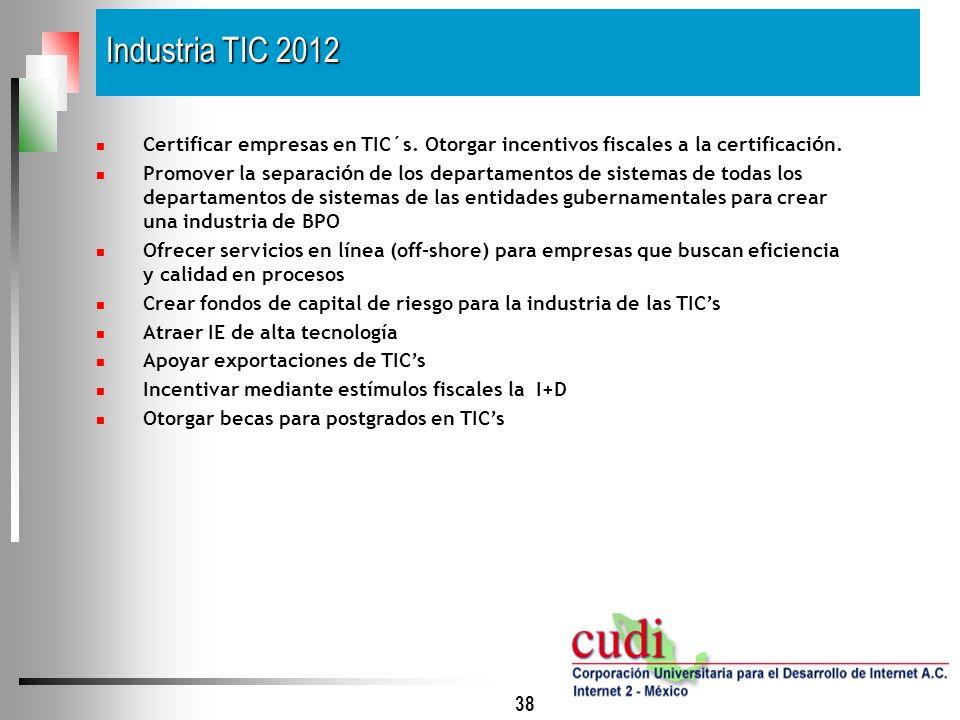 38 Certificar empresas en TIC´s. Otorgar incentivos fiscales a la certificaci ó n. Promover la separaci ó n de los departamentos de sistemas de todas