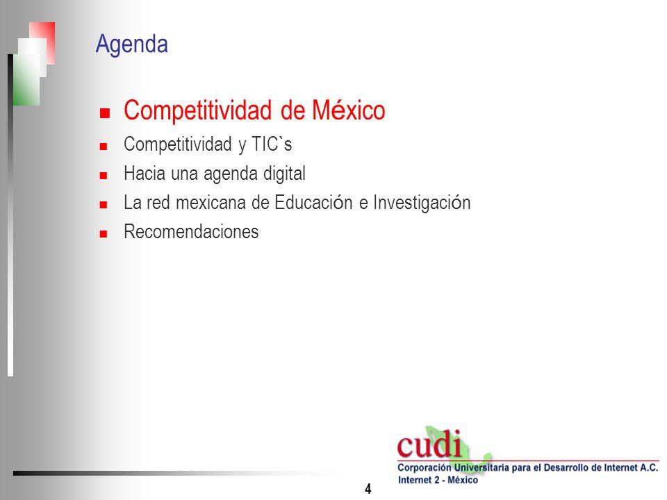 4 Agenda Competitividad de M é xico Competitividad y TIC`s Hacia una agenda digital La red mexicana de Educaci ó n e Investigaci ó n Recomendaciones