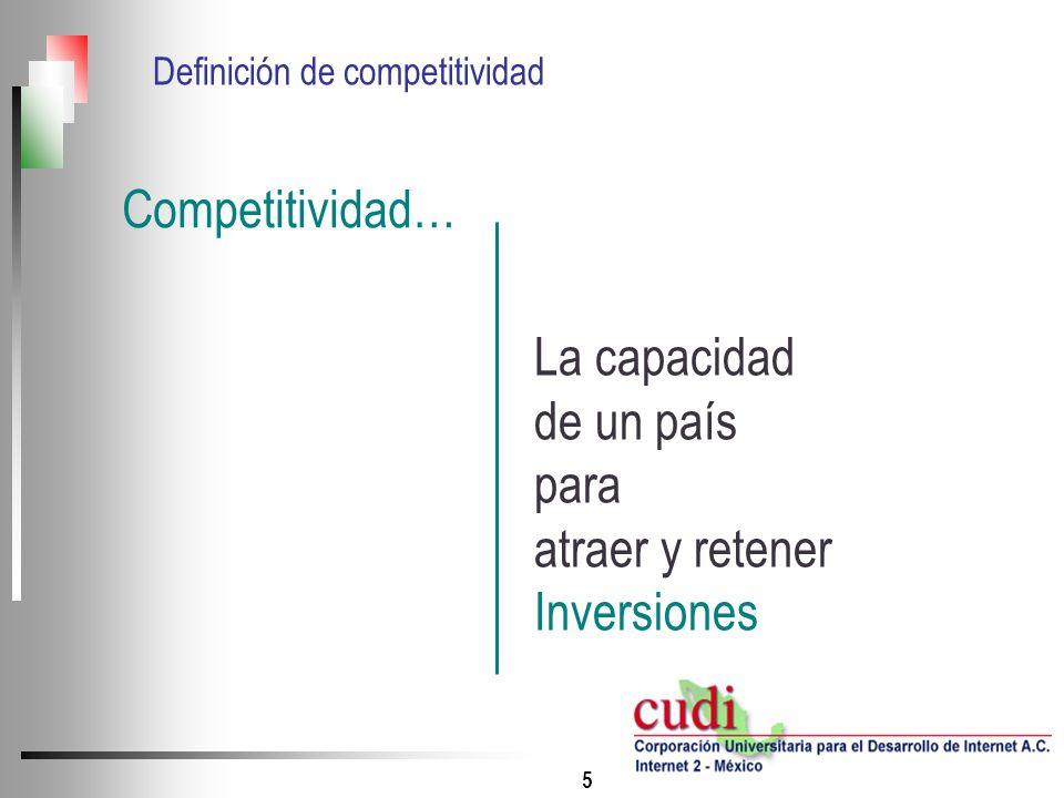 5 La capacidad de un país para atraer y retener Inversiones Competitividad… Definición de competitividad