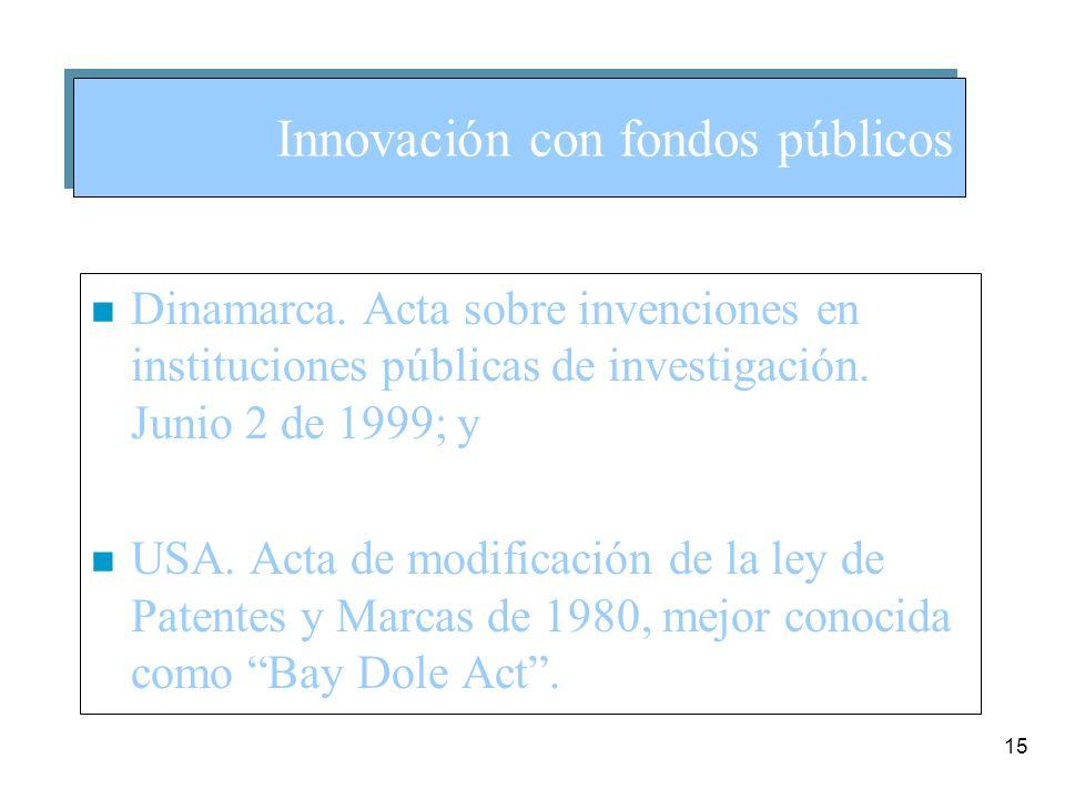 15 n Dinamarca. Acta sobre invenciones en instituciones públicas de investigación.