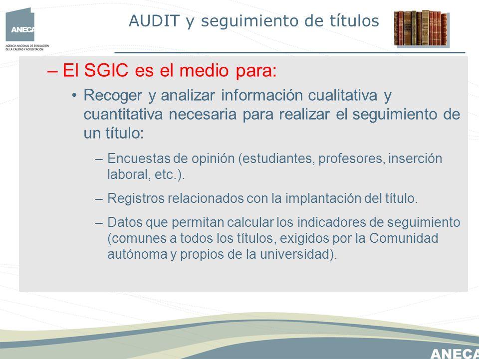 –El SGIC es el medio para: Recoger y analizar información cualitativa y cuantitativa necesaria para realizar el seguimiento de un título: –Encuestas de opinión (estudiantes, profesores, inserción laboral, etc.).