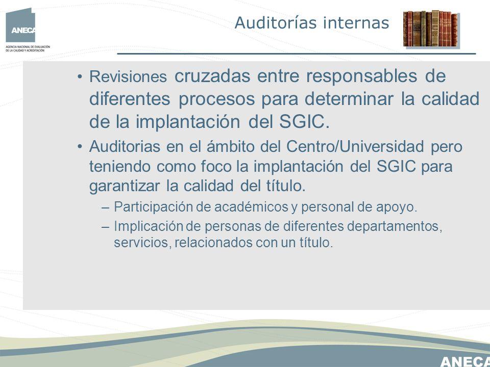 Revisiones cruzadas entre responsables de diferentes procesos para determinar la calidad de la implantación del SGIC.