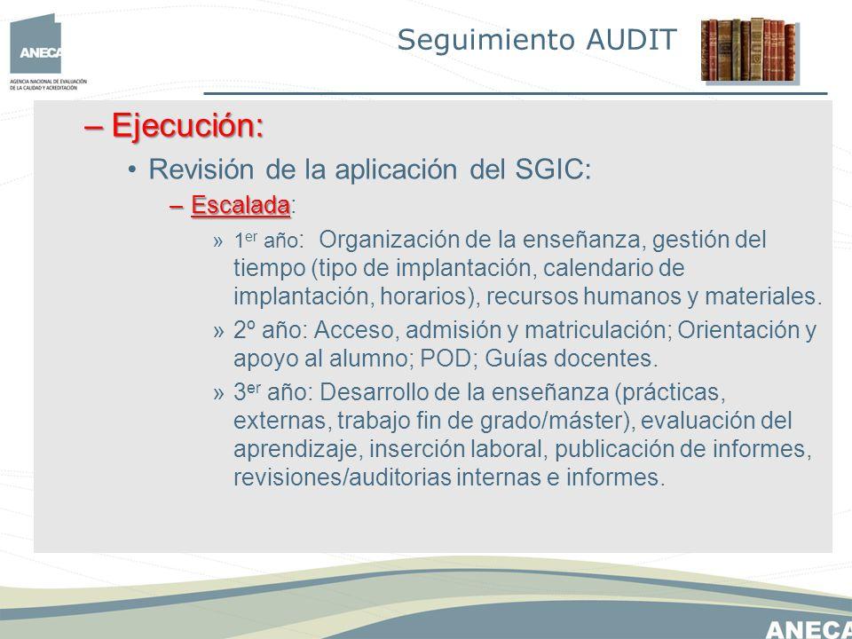 –Ejecución: Revisión de la aplicación del SGIC: –Escalada –Escalada: »1 er año : Organización de la enseñanza, gestión del tiempo (tipo de implantación, calendario de implantación, horarios), recursos humanos y materiales.