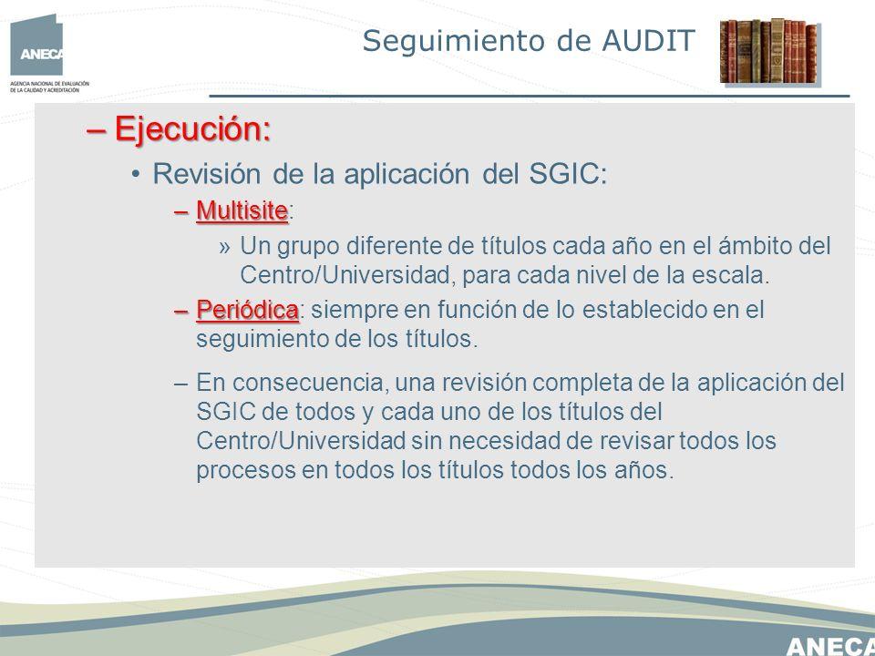 –Ejecución: Revisión de la aplicación del SGIC: –Multisite –Multisite: »Un grupo diferente de títulos cada año en el ámbito del Centro/Universidad, para cada nivel de la escala.