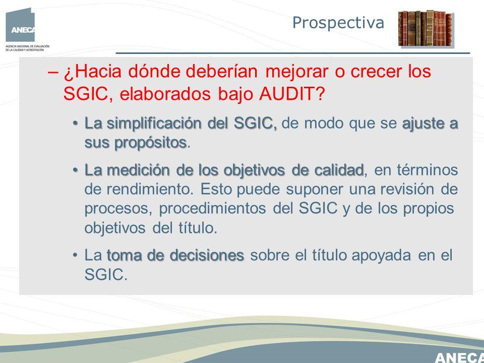 –¿Hacia dónde deberían mejorar o crecer los SGIC, elaborados bajo AUDIT.