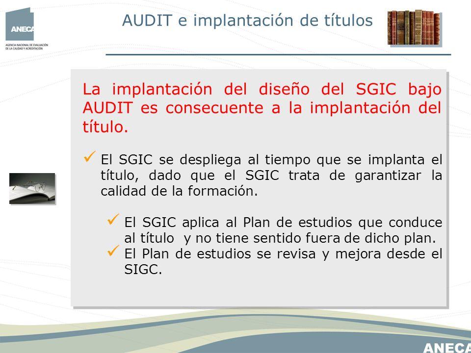 Al igual que el diseño del título, el diseño del SGIC también debe desplegarse en sus elementos constitutivos:.