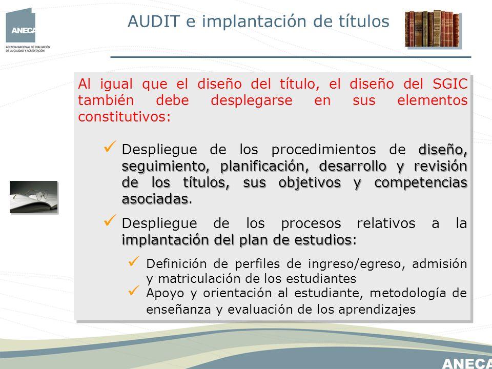 Al igual que el diseño del título, el diseño del SGIC también debe desplegarse en sus elementos constitutivos: implantación del plan de estudios Despliegue de los procesos relativos a la implantación del plan de estudios: Módulos, materias.