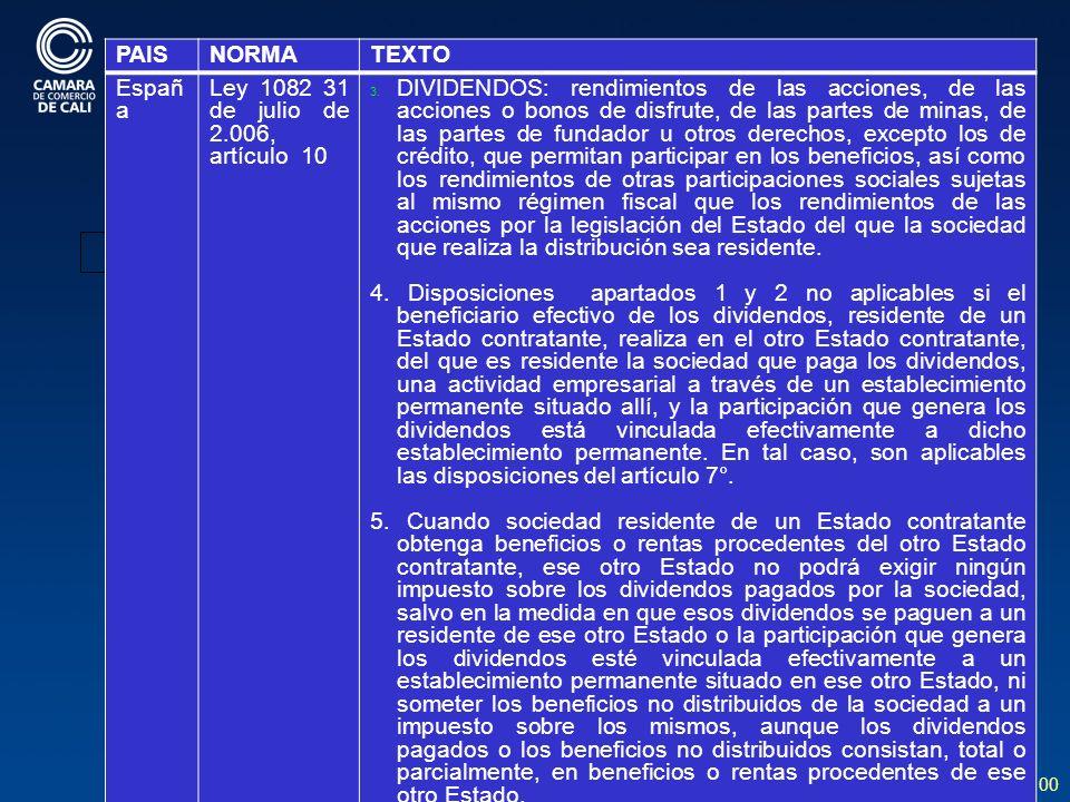 100 BIENES EN PAISES CON CDI OPERANDO PAISNORMATEXTO Españ a Ley 1082 31 de julio de 2.006, artículo 10 3.