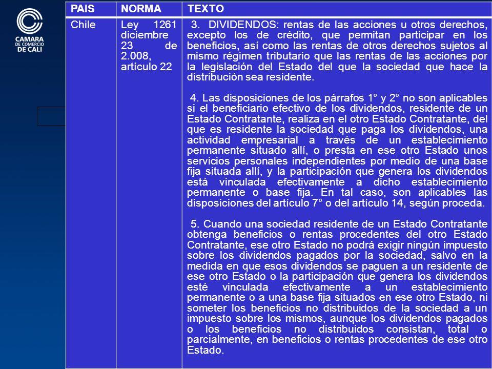 102 BIENES EN PAISES CON CDI OPERANDO PAISNORMATEXTO ChileLey 1261 diciembre 23 de 2.008, artículo 22 3.