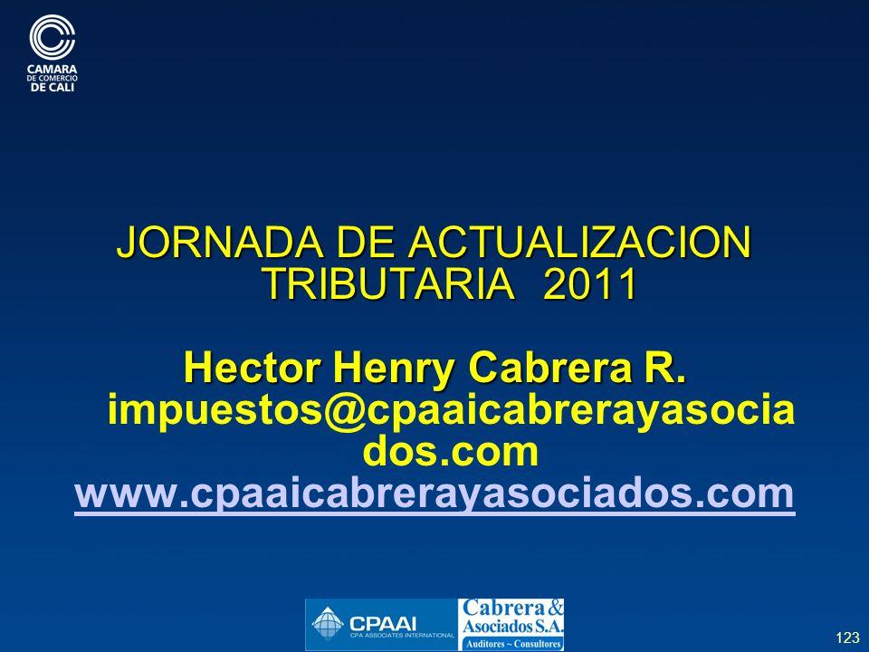 123 JORNADA DE ACTUALIZACION TRIBUTARIA 2011 Hector Henry Cabrera R.