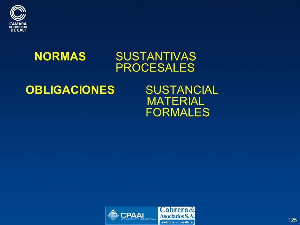 125 NORMAS SUSTANTIVAS PROCESALES OBLIGACIONES SUSTANCIAL MATERIAL FORMALES