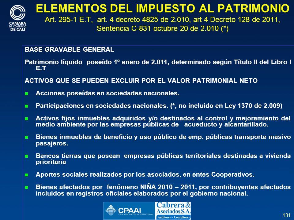 131 ELEMENTOS DEL IMPUESTO AL PATRIMONIO Art.295-1 E.T, art.