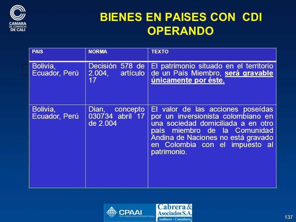 137 BIENES EN PAISES CON CDI OPERANDO PAISNORMATEXTO Bolivia, Ecuador, Perú Decisión 578 de 2.004, artículo 17 El patrimonio situado en el territorio de un País Miembro, será gravable únicamente por éste.