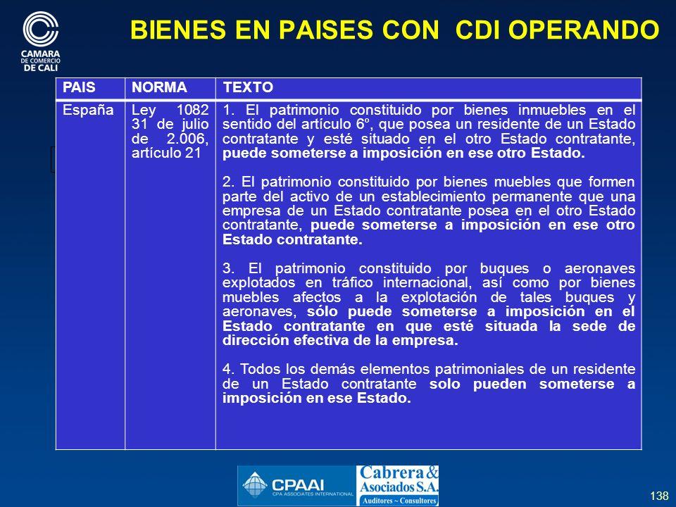 138 BIENES EN PAISES CON CDI OPERANDO PAISNORMATEXTO EspañaLey 1082 31 de julio de 2.006, artículo 21 1.