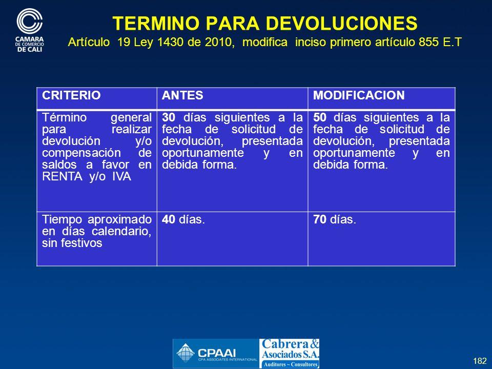 182 TERMINO PARA DEVOLUCIONES Artículo 19 Ley 1430 de 2010, modifica inciso primero artículo 855 E.T CRITERIOANTESMODIFICACION Término general para realizar devolución y/o compensación de saldos a favor en RENTA y/o IVA 30 días siguientes a la fecha de solicitud de devolución, presentada oportunamente y en debida forma.