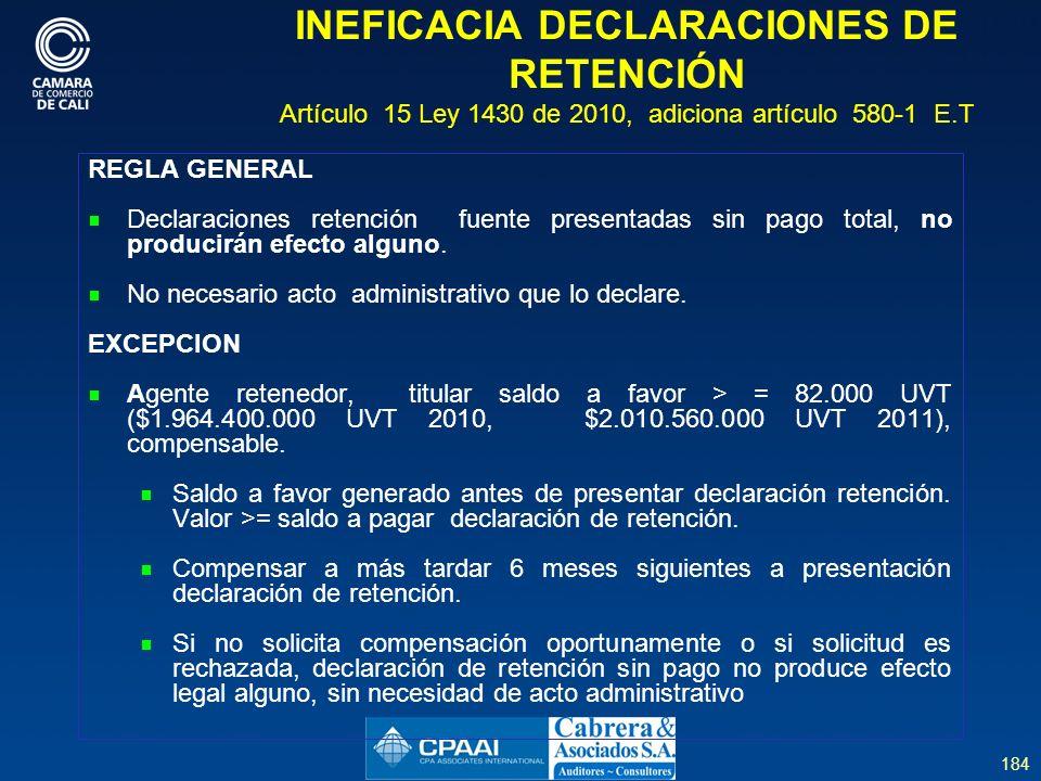184 INEFICACIA DECLARACIONES DE RETENCIÓN Artículo 15 Ley 1430 de 2010, adiciona artículo 580-1 E.T REGLA GENERAL Declaraciones retención fuente presentadas sin pago total, no producirán efecto alguno.