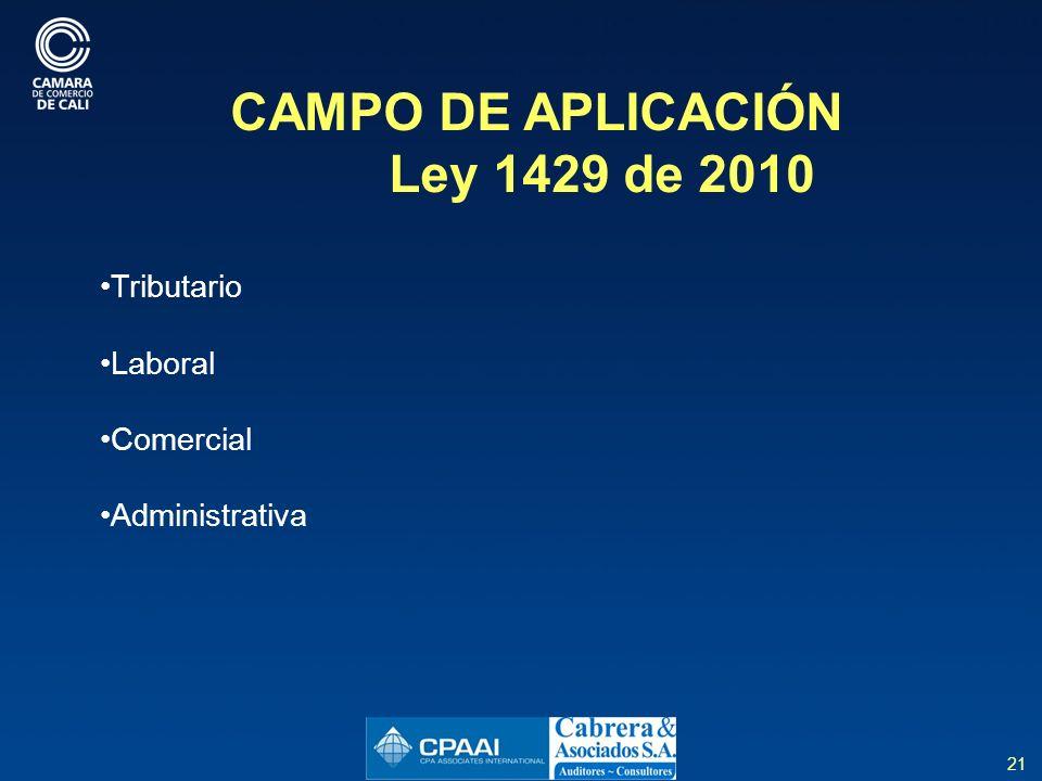 21 CAMPO DE APLICACIÓN Ley 1429 de 2010 Tributario Laboral Comercial Administrativa
