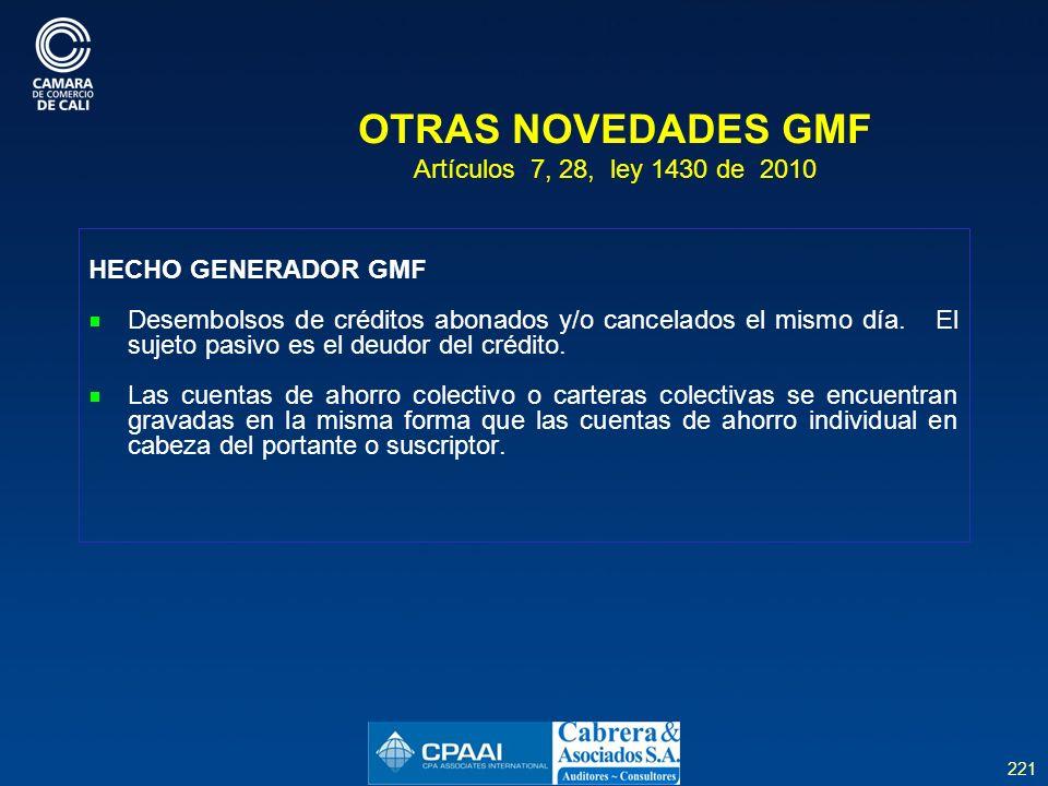 221 OTRAS NOVEDADES GMF Artículos 7, 28, ley 1430 de 2010 HECHO GENERADOR GMF Desembolsos de créditos abonados y/o cancelados el mismo día.