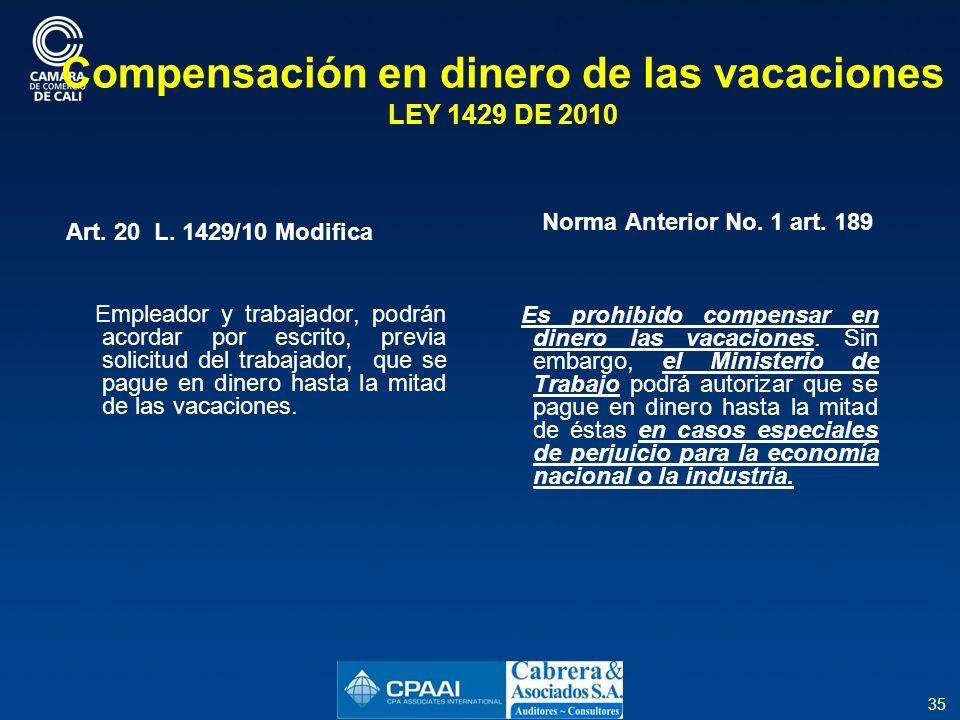 35 Compensación en dinero de las vacaciones LEY 1429 DE 2010 Art.