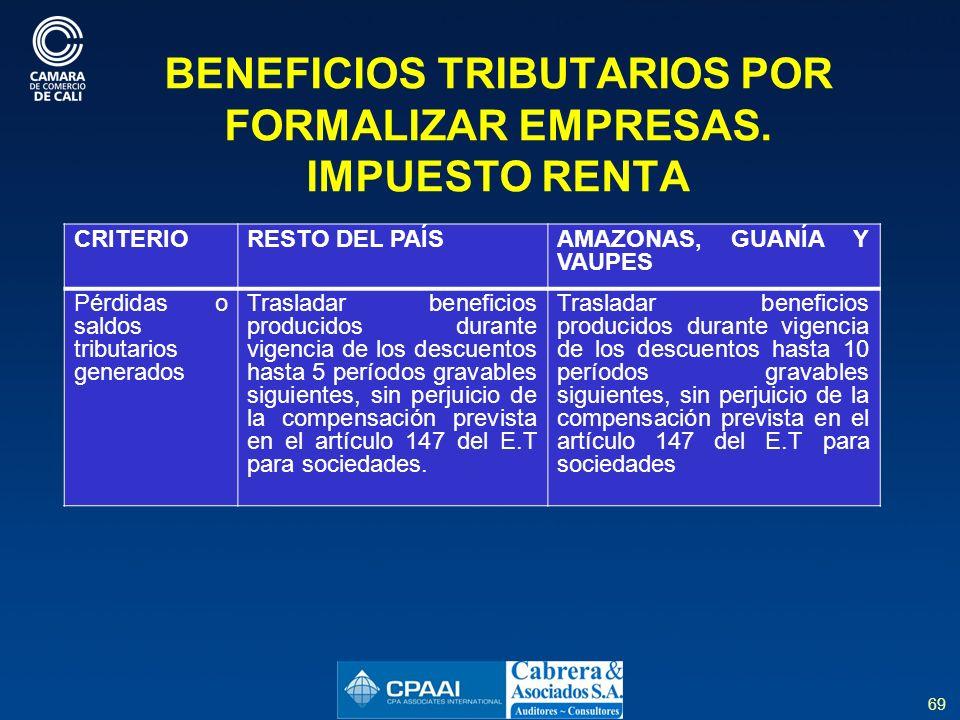 69 BENEFICIOS TRIBUTARIOS POR FORMALIZAR EMPRESAS.