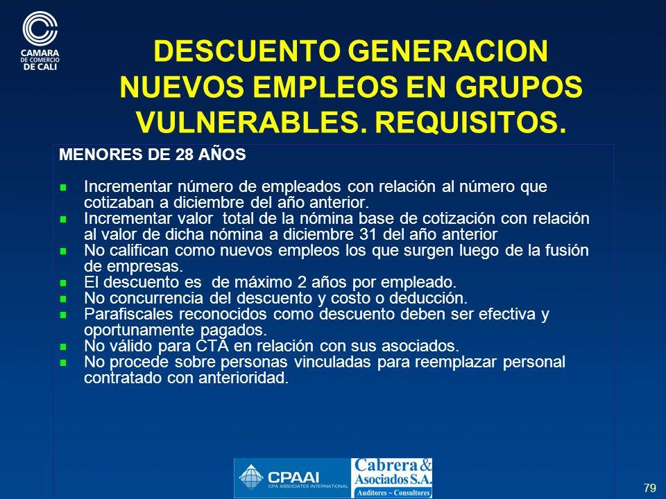 79 DESCUENTO GENERACION NUEVOS EMPLEOS EN GRUPOS VULNERABLES.