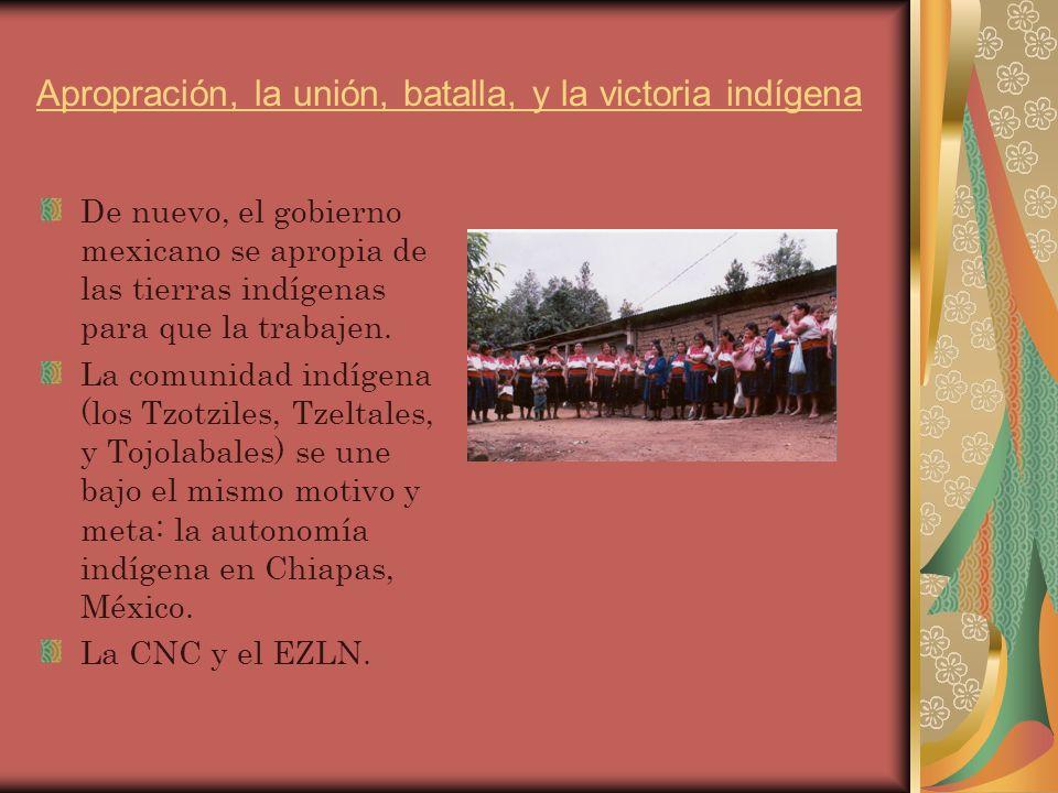 Apropración, la unión, batalla, y la victoria indígena De nuevo, el gobierno mexicano se apropia de las tierras indígenas para que la trabajen.