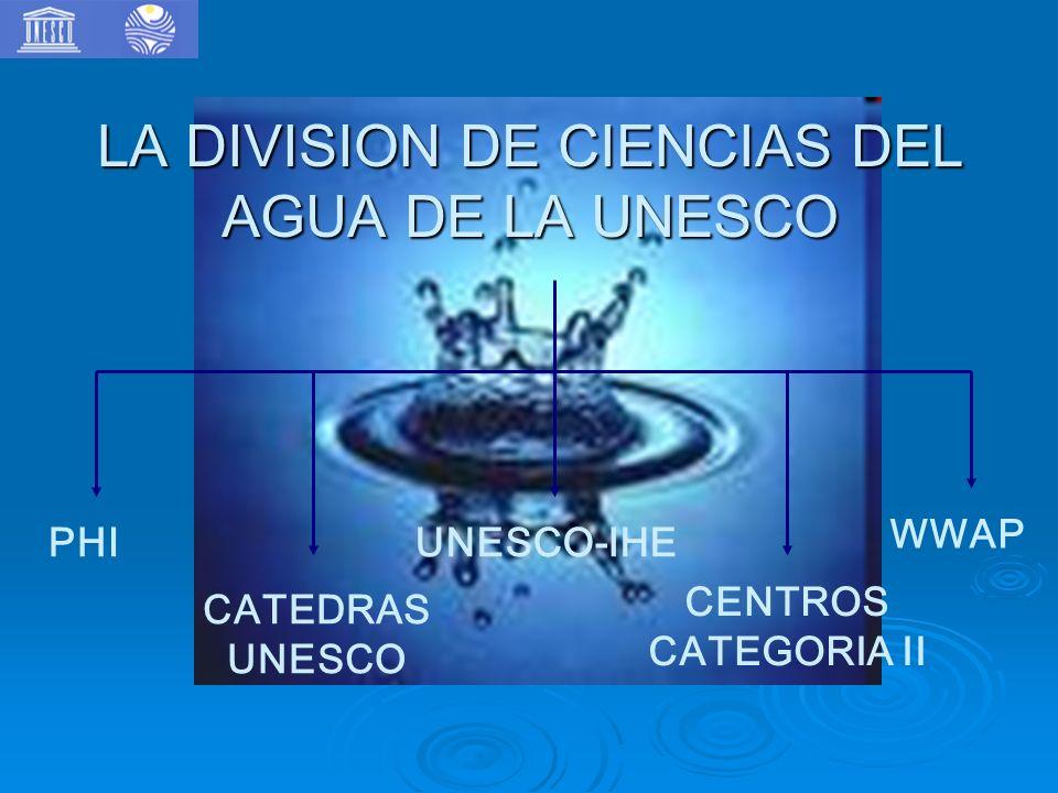 LA DIVISION DE CIENCIAS DEL AGUA DE LA UNESCO PHI WWAP CATEDRAS UNESCO CENTROS CATEGORIA II UNESCO-IHE
