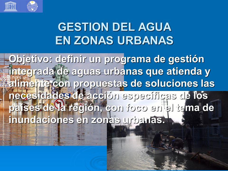 GESTION DEL AGUA EN ZONAS URBANAS Objetivo: definir un programa de gestión integrada de aguas urbanas que atienda y alimente con propuestas de soluciones las necesidades de acción específicas de los países de la región, con foco en el tema de inundaciones en zonas urbanas.
