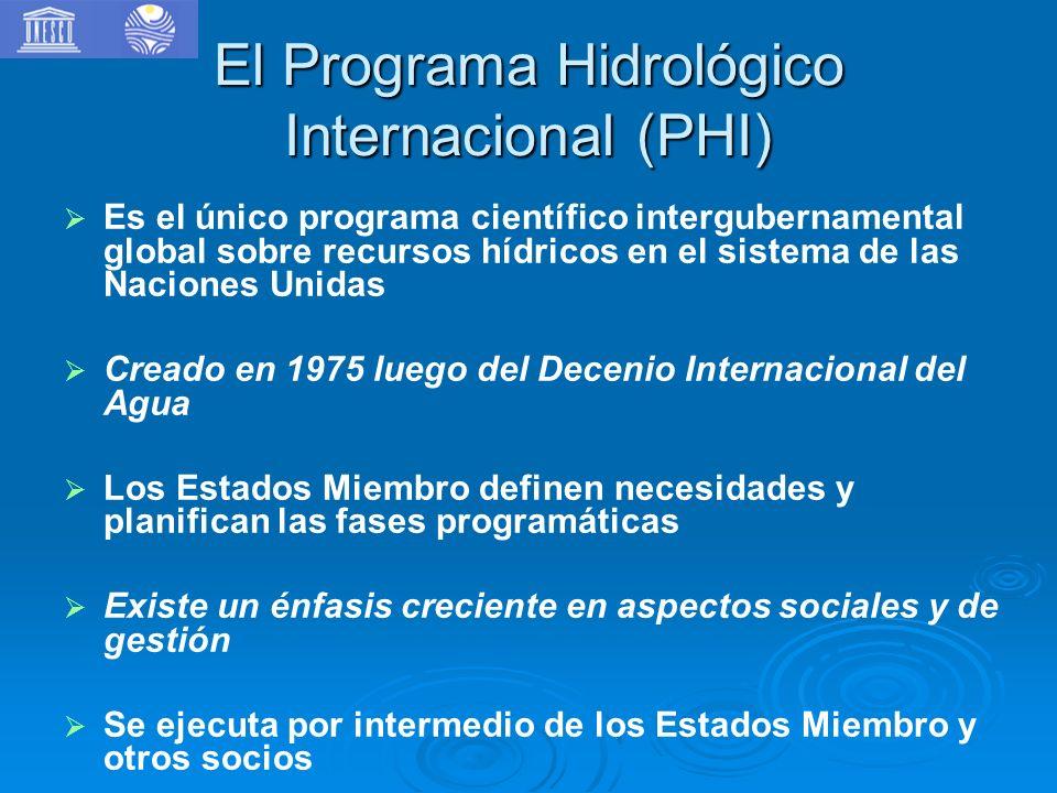 El Programa Hidrológico Internacional (PHI) Es el único programa científico intergubernamental global sobre recursos hídricos en el sistema de las Naciones Unidas Creado en 1975 luego del Decenio Internacional del Agua Los Estados Miembro definen necesidades y planifican las fases programáticas Existe un énfasis creciente en aspectos sociales y de gestión Se ejecuta por intermedio de los Estados Miembro y otros socios