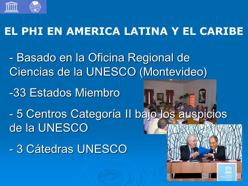EL PHI EN AMERICA LATINA Y EL CARIBE - Basado en la Oficina Regional de Ciencias de la UNESCO (Montevideo) -33 Estados Miembro - 5 Centros Categoría II bajo los auspicios de la UNESCO - 3 Cátedras UNESCO