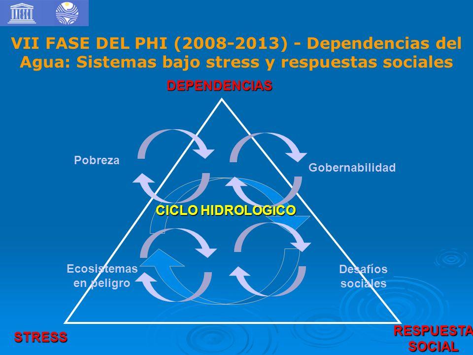 DEPENDENCIAS RESPUESTASOCIAL STRESS CICLO HIDROLOGICO Gobernabilidad Pobreza Ecosistemas en peligro Desafíos sociales VII FASE DEL PHI (2008-2013) - Dependencias del Agua: Sistemas bajo stress y respuestas sociales