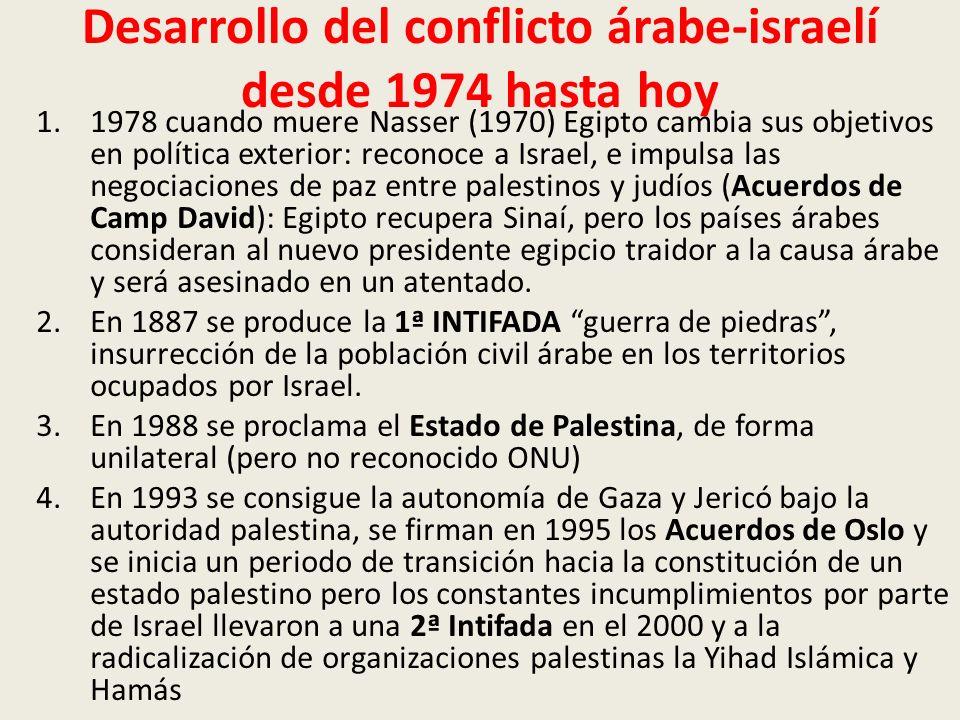 Desarrollo del conflicto árabe-israelí desde 1974 hasta hoy 1.1978 cuando muere Nasser (1970) Egipto cambia sus objetivos en política exterior: recono