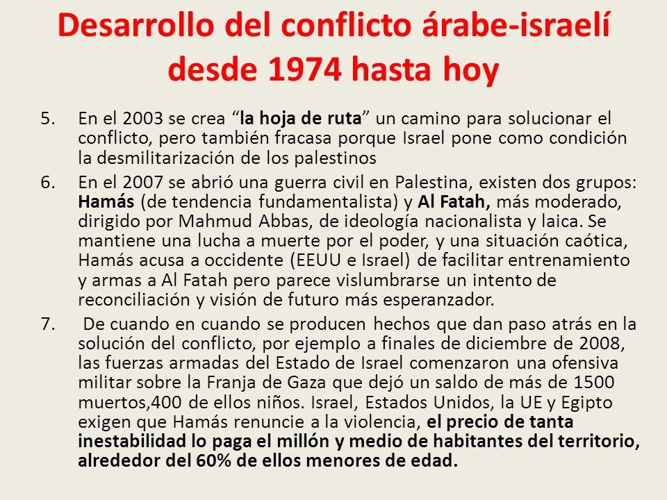 Desarrollo del conflicto árabe-israelí desde 1974 hasta hoy 5.En el 2003 se crea la hoja de ruta un camino para solucionar el conflicto, pero también fracasa porque Israel pone como condición la desmilitarización de los palestinos 6.En el 2007 se abrió una guerra civil en Palestina, existen dos grupos: Hamás (de tendencia fundamentalista) y Al Fatah, más moderado, dirigido por Mahmud Abbas, de ideología nacionalista y laica.