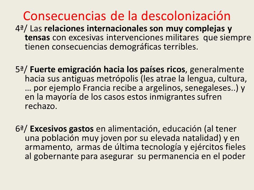 Consecuencias de la descolonización 4ª/ Las relaciones internacionales son muy complejas y tensas con excesivas intervenciones militares que siempre tienen consecuencias demográficas terribles.