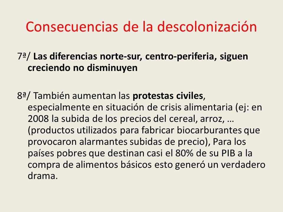 Consecuencias de la descolonización 7ª/ Las diferencias norte-sur, centro-periferia, siguen creciendo no disminuyen 8ª/ También aumentan las protestas
