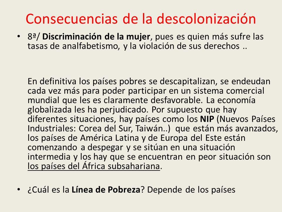 Consecuencias de la descolonización 8ª/ Discriminación de la mujer, pues es quien más sufre las tasas de analfabetismo, y la violación de sus derechos..